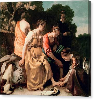 Diana And Her Companions Canvas Print by Jan Vermeer