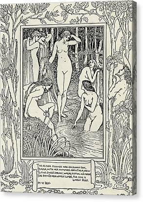 Diana And Her Nymphs Illustration For The Faerie Queen Canvas Print by Walter Crane