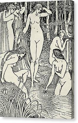 Diana And Her Nymphs Canvas Print by Walter Crane