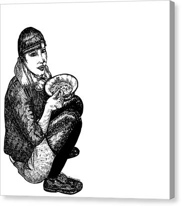 Diana Eating Canvas Print by Karl Addison