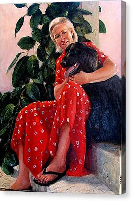 Canvas Print featuring the painting Diane And Cinder by Donelli  DiMaria