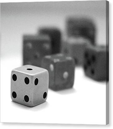 Dice 1- Black And White Photo By Linda Woods Canvas Print