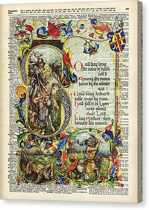Dictionary Art - King Artur Story Book  Canvas Print by Jacob Kuch