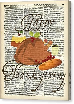 Dictionary Art - Thanksgiving Turkey Canvas Print by Jacob Kuch