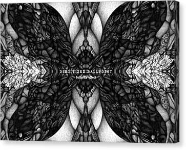 Canvas Print featuring the drawing Didgitized Ballpoint Butterfly Effect by Jack Dillhunt