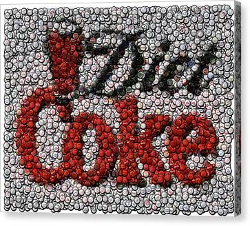Diet Coke Bottle Cap Mosaic Canvas Print