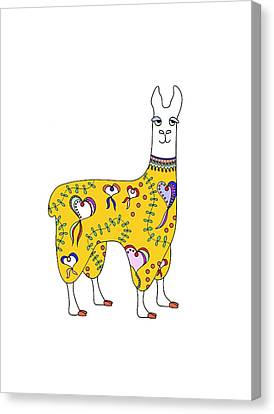 Difficult Llama Yellow Canvas Print