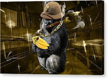 Ape Canvas Print - Dig The Gold by Marvin Blaine