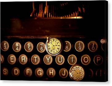Typewriter Keys Canvas Print - Digital Antiquarian Typewriter by VRL Art