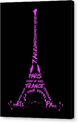 Digital-art Eiffel Tower Pink Canvas Print by Melanie Viola