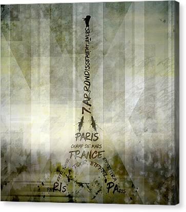 Digital-art Paris Eiffel Tower Geometric Mix No.1 Canvas Print by Melanie Viola