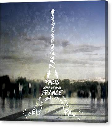 Digital-art Paris Eiffel Tower No.4 Canvas Print by Melanie Viola