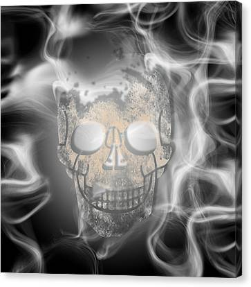 Skull Canvas Print - Digital-art Smoke And Skull by Melanie Viola
