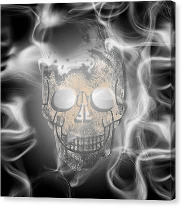 Digital-art Smoke And Skull Canvas Print by Melanie Viola