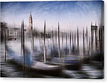 Digital-art Venice Grand Canal And St Mark's Campanile Canvas Print by Melanie Viola