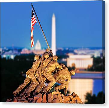 Arlington National Cemetery Canvas Print - Digital Composite, Iwo Jima Memorial by Panoramic Images