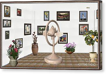 digital exhibartition _ Statue of fish 3 Canvas Print by Pemaro