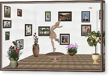 digital exhibition _ A sculpture of a dancing girl 14 Canvas Print by Pemaro