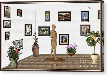 digital exhibition _ Statue of a Statue 22 of posing lady  Canvas Print