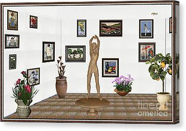 digital exhibition _ Statue of a Statue 23 of posing lady  Canvas Print by Pemaro