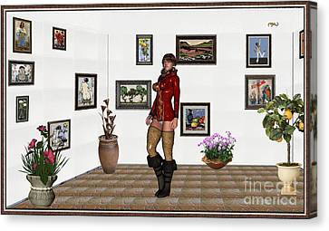 digital exhibition 32  posing  Girl 31  Canvas Print by Pemaro