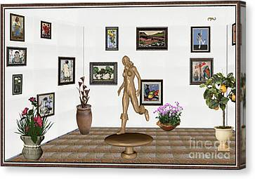 digital exhibition   sculpture of  posing  Girl 32  Canvas Print by Pemaro