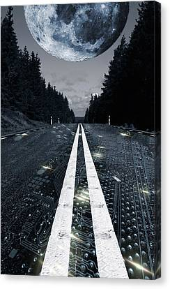 Canvas Print featuring the photograph Digital Highway And A Full Moon by Christian Lagereek