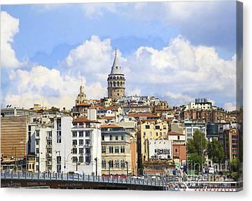 Digital Manipulation Of Galata Tower ,istanbul,turkey. Canvas Print by Mohamed Elkhamisy