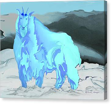 Canvas Print featuring the digital art Digital Mountain Goat 2 by Kae Cheatham