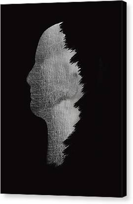 Digital Sculpture In Black Canvas Print by Art Spectrum