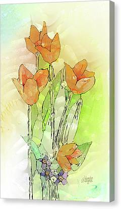 Digital Tulips Canvas Print by Arline Wagner