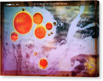 Canvas Print featuring the photograph Digital Virus Orange One Bubbles by John Williams