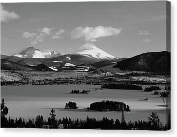 Canvas Print featuring the photograph Dillon In Winter Bw by Marie Leslie
