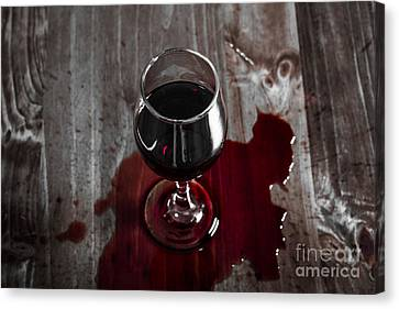 Wine Service Canvas Print - Diner Table Accident. Spilled Red Wine Glass by Jorgo Photography - Wall Art Gallery