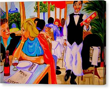 Diners At La Lutetia Canvas Print by Rusty Woodward Gladdish