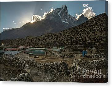 Canvas Print featuring the photograph Dingboche Evening Sunrays by Mike Reid