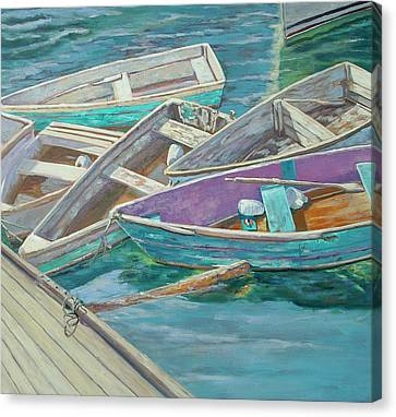 Dinghies All Tied Up Canvas Print by Barbara Hageman
