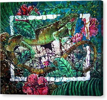Dining At The Hibiscus Cafe - Iguana Canvas Print by Sue Duda