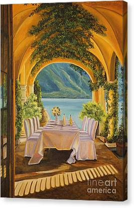 Dining On Lake Como Canvas Print by Charlotte Blanchard