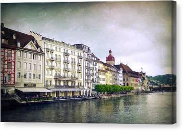 Dining On Lake Lucerne Canvas Print