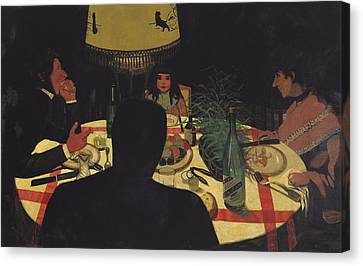 Dinner By Lamplight Canvas Print by Felix Edouard Vallotton