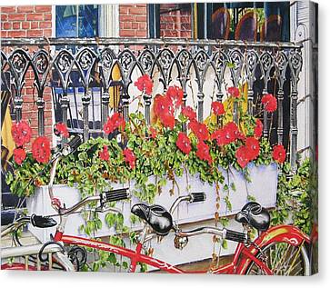Bicycle With Flowers Canvas Print - Dinner For Two by John Bowen