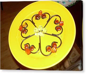 Dinner Plate Flowers Canvas Print by Diane Morizio