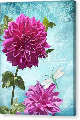 Dinnerplate Dahlia Flower W Dragonfly Canvas Print by Audrey Jeanne Roberts