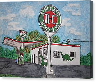 Dino Sinclair Gas Station Canvas Print