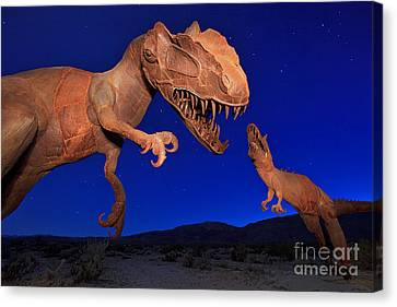 Dinosaur Battle In Jurassic Park Canvas Print
