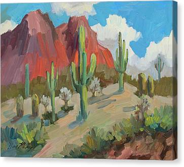 Canvas Print featuring the painting Dinosaur Mountain by Diane McClary