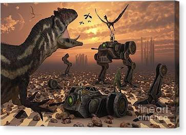 Dinosaurs And Robots Fight A War Canvas Print