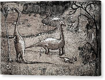 Canvas Print featuring the drawing Dinosaurs by Josean Rivera