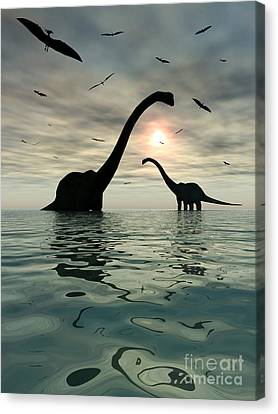 Diplodocus Dinosaurs Bathe In A Large Canvas Print by Mark Stevenson
